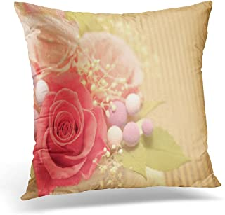 SPXUBZ Brown Anniversary of Preservrd Flower and Clay Arrangement Pink and Red Roses Purple Artificial Beauty Decorative Home Decor Square Indoor/Outdoor Pillowcase Size: 20X20 Inch(Two Sides)