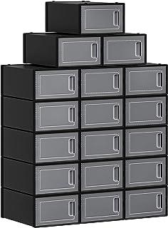 SONGMICS Boîtes à Chaussures, Lot de 18, Rangement Chaussures, Organisateur, Pliable, empilable, pour Pointure Jusqu'à 42,...