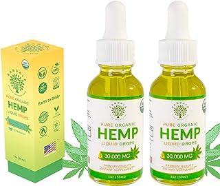 Organic Pure Hemp Oil 30,000 MG, by Kandala for Pain & Stress Natural Hemp Drops – Helps with Sleep, Skin, and Hair (2 Pac...