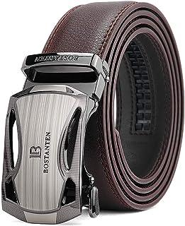BOSTANTEN Men's Leather Belts Sliding Buckle Dress Ratchet Belt