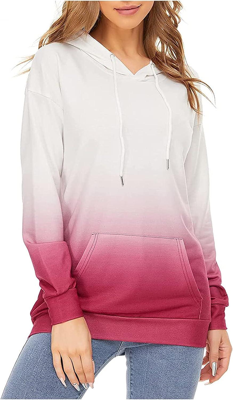 Womens Tie Dye Drawstring Hoodies Long Sleeves Pullover Blouses Casual Loose Sweatshirt Tops With Pockets