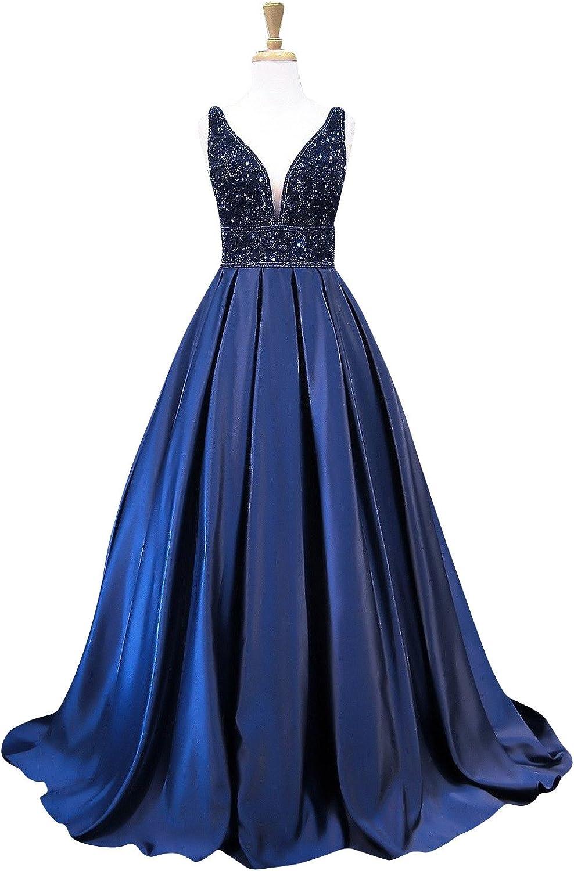Marsen V Neck Satin Prom Dress Beaded Long Evening Dress for Women Formal Gown