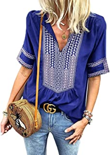 FARYSAYS Women's Casual Boho Embroidered V Neck Short Sleeve Shirts Loose Blouse Tops