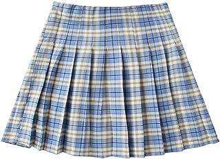 SheIn Women's Plaid Skirt High Waist Pleated Flare Mini Uniform Skirt