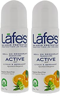 Lafe's Active Roll On Deodorant (Pack of 2) With Citrus, Witch Hazel and Jasmine, 2.5 oz Each