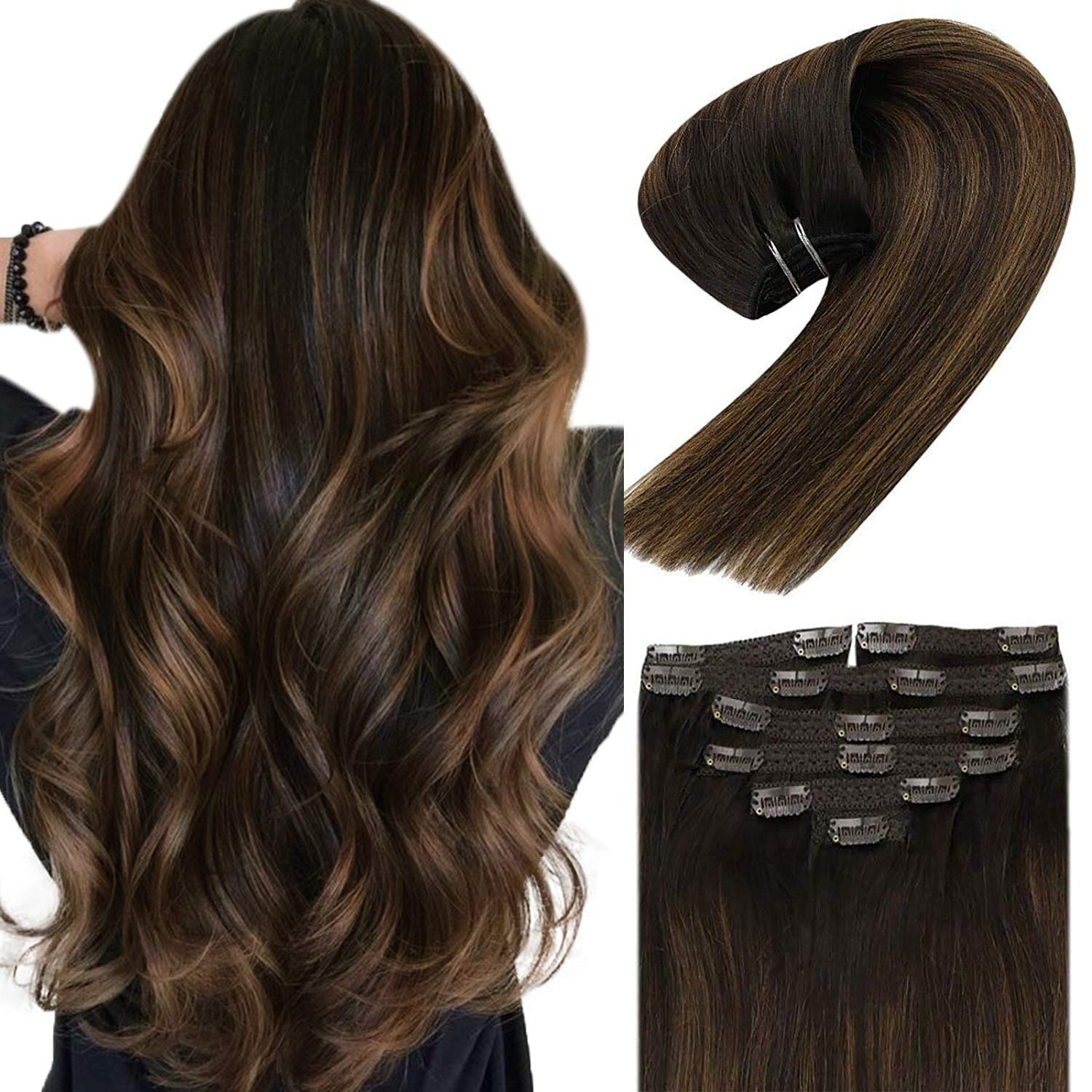 Sunny Hair Award-winning store New York Mall Extensions Clip in Brown Brow Balayage 16inch Darkest
