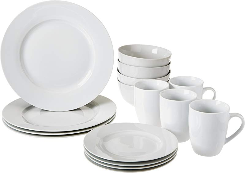AmazonBasics 16 Piece Kitchen Dinnerware Set Plates Bowls Mugs Service For 4 White