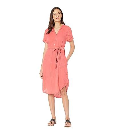 Michael Stars Dinah Double Gauze Short Sleeve Midi Dress (Pink Grapefruit) Women