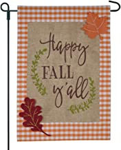 JEC Happy Fall Yall Garden Flag On Burlap - Plaid Fall Garden Flag - 12x18 on Burlap - Home Garden Flag, Autumn Garden Flag