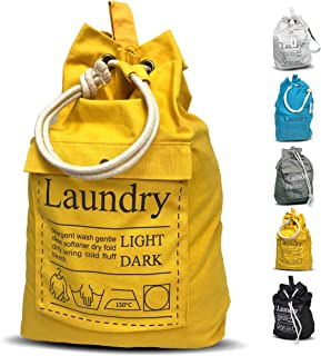 """Teeo Laundry Bag Backpack Large Spacious 25""""X20"""" Drawstring 100% Sturdy Cotton Canvas with Strap for College Students Dorm Room Clothes Hamper Storage Washer Organizer (Yellow)"""