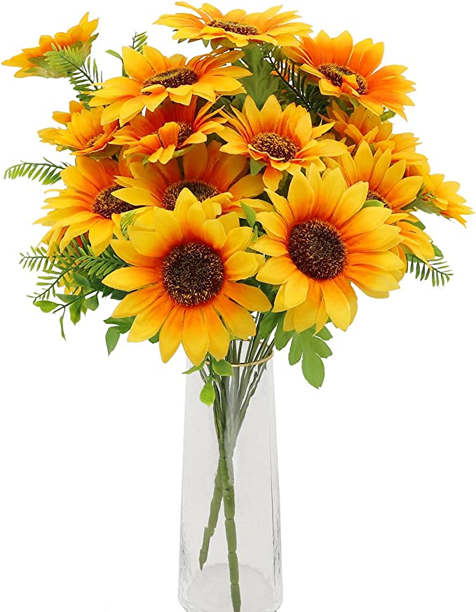 168 opinioni per Decpro 1 Bouquet di Girasoli Artificiali, 18,9 Pollici Girasoli di Seta