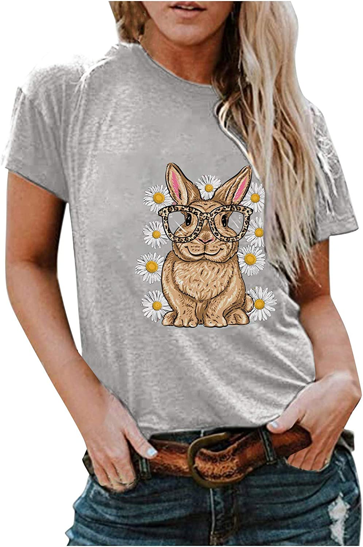 Womens Short specialty shop Omaha Mall Sleeve Shirts Trendy Bunny Cute Summe Daisy Printed