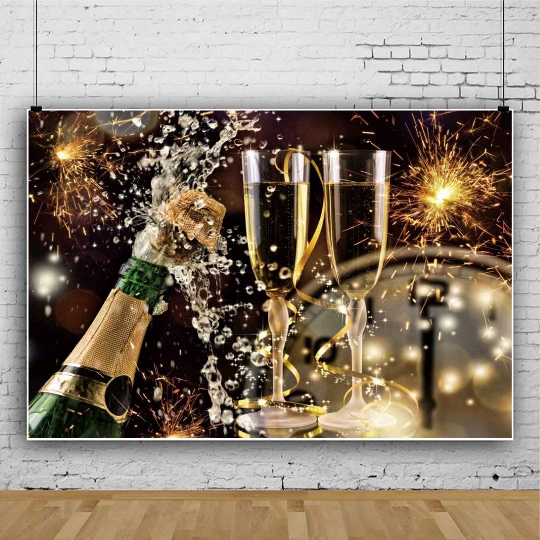 OFILA Champagne Party Backdrop Polyester Fabric 7x5ft New Year Fireworks Party Photos Background Bokeh Backdrop Halos New Year Festival Celebration Firework Display New Year Eve Events Props