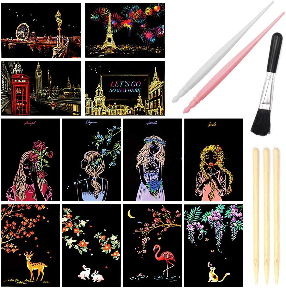 Direct store Scratch Art Paper Rainbow Night Scratchboard View Outstanding for Pads Adul