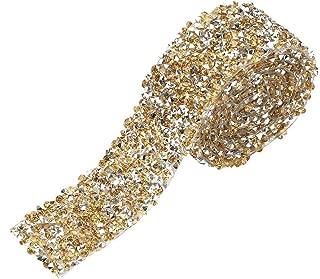 Rhinestone Ribbon Wrap Diamond Mesh Wrap Roll Sparkle Crystal Decorations for Wedding Birthday Gift Wrap, 1yard 3CM Wide 91cm Long(Gold)