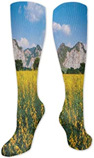 Fuliya, Calcetines altos de compresión Cosmos Láctea Way Galaxy Abstracto Stardust en diseño de acuarela, calcetines para mujeres y hombres, lo mejor para correr, atletismo, senderismo, viajes, vuelo.