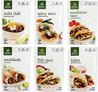 Simply Organic Mexican Seasoning Mix 6 Flavor Variety Bundle, 1 Each: Southwest Taco, Spicy Taco, Classic Fajita, Enchilada, Fish Taco, Mild Chili (1.00-1.41 Ounces)