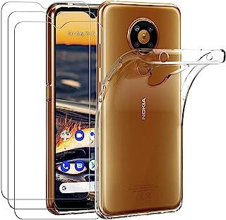ivoler Fodral till Nokia 5.3, stötdämpande stötskydd med 3-pack skärmskydd i härdat glas, klar smal mjuk TPU reptåligt stö...