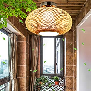 Lámpara De Techo Tejida De Bambú Retro Lámpara De Techo De Bambú Natural Y Ratán E27 País Lámpara Colgante Tejida A Mano Pasillo Dormitorio Sala Estar Iluminación Decoración Lámpara,40cm