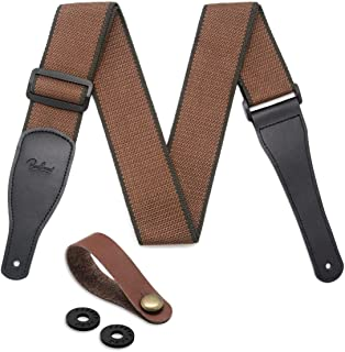 Guitar Strap 100% Soft Cotton & Genuine Leather Ends Guitar Shoulder Strap With Guitar Strap Lock and Button Headstock Adaptor (Coffee)