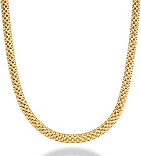 MiaBella 18K Gold Over Sterling Silver Italian 4mm Mesh Link Chain Necklace for Women, 16, 18, 20 Inch, 925 Italy