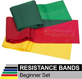 TheraBand Professional Latex Resistance Bands, Yellow & Red & Green, Beginner Set