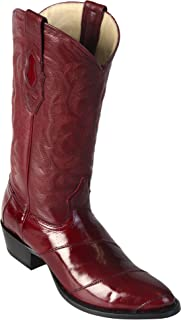 Men's Round Toe Genuine Leather EEL Angulia Western Boots - Exotic Skin Boots