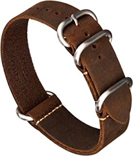 Benchmark Basics Crazy Horse Oiled Leather Zulu Watch Strap | 18mm, 20mm, 22mm & 24mm | Pull-Up, Rustic Finish (Multiple C...