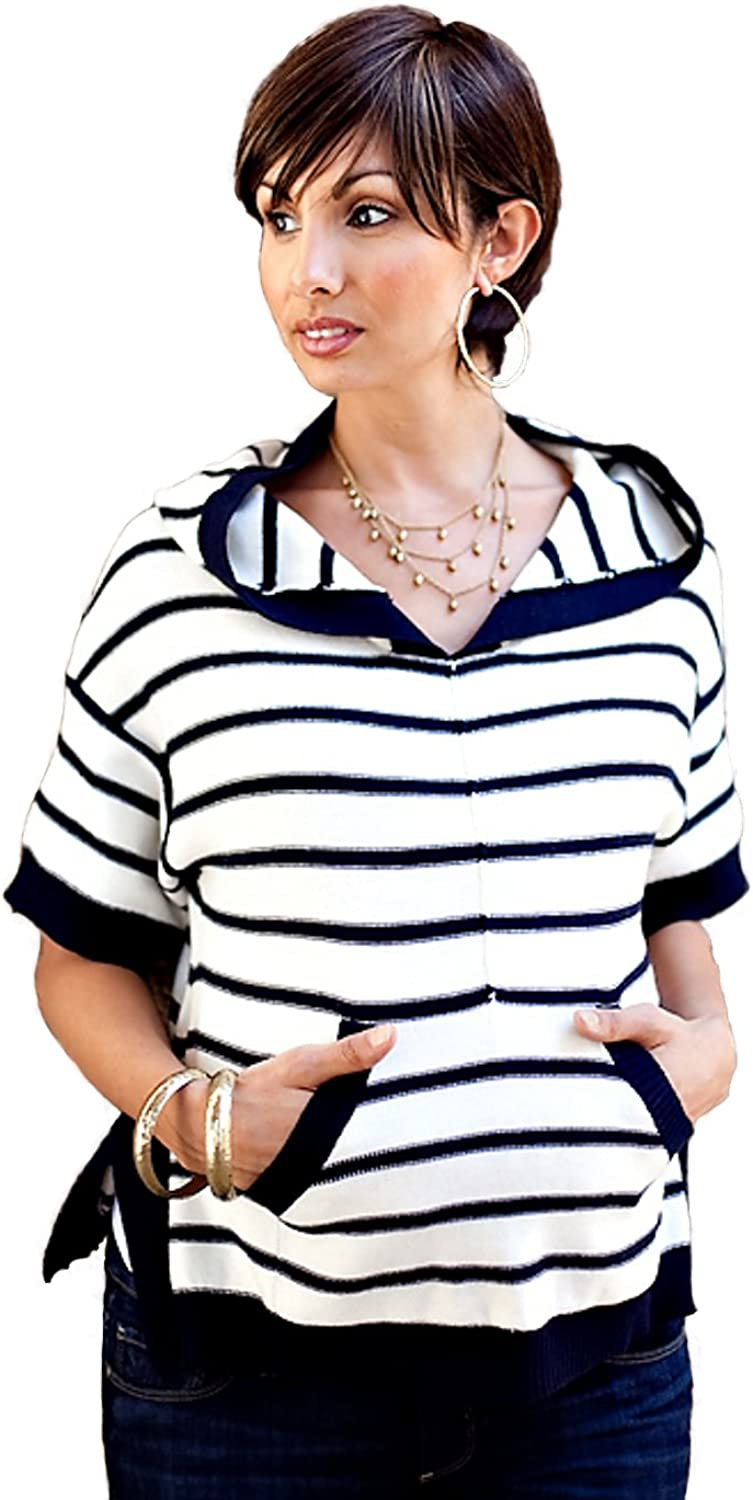 Juicy Couture Maternity   Slouchy Striped Hoodie  White