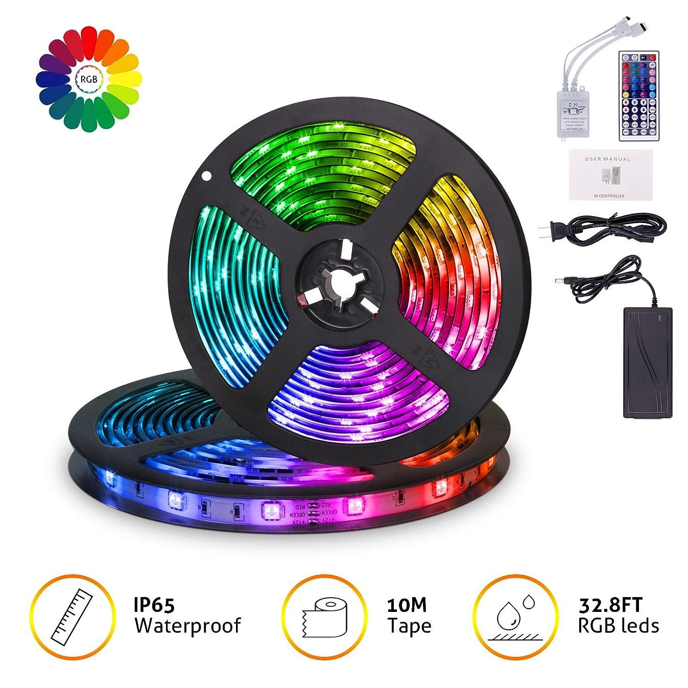 MingoPro LED Strip Lights,32.8FT/10M 300 LEDs SMD5050 RGB Strip Lights IP65 Waterproof Flexible Strip Lighting for Home Kitchen,tv, Desk Table, Dining Room, Bed Room