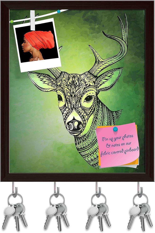 Artzfolio Horned Deer Key Holder Hooks   Notice Pin Board   Dark Brown Frame 16 X 19.1Inch