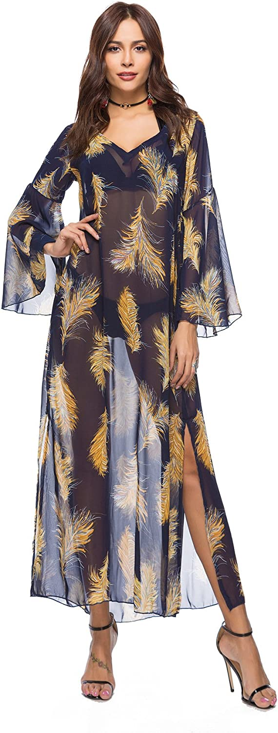 YSJERA Women's Semi Sheer Bohemia Long Caftan Dress Cover Up Beach Dress Maxi Dress