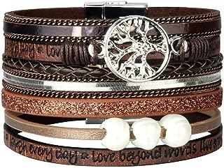 Leather Wrap Bracelet Casual Crystal Cuff Bracelet Multilayer Braided Bracelets Bohemian Jewelry Handmade Gifts for Women, Teens Girls, Sister, Wife