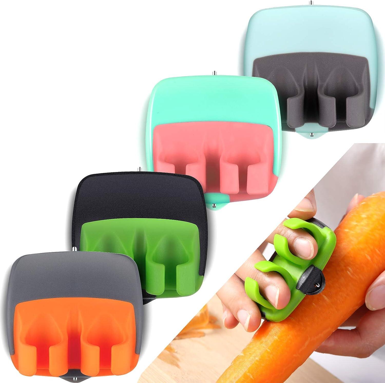 4 Pieces Palm Fruit Peeler Finger Potato Peeler Kitchen Vegetable Peeler Hand Fruit Peeler with Comfortable Rubber Finger Grip for Pumpkin Carrot Cucumber Potato Peeling (Assorted Colors)