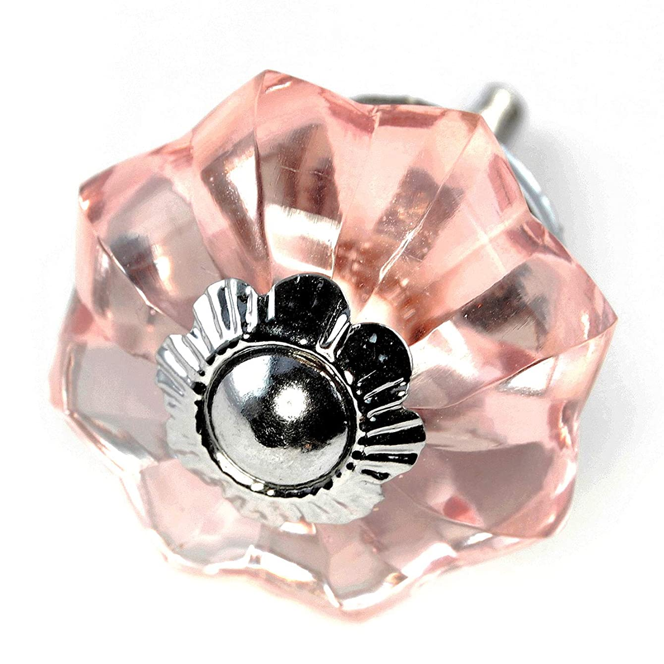 Romantic Decor Pink Glass Cabinet Knobs 1.375