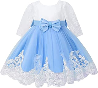 Nimiya Kids Girls Long Sleeve Sheer Lace Embroidered Flower Beads Lace Bowknot Mesh Tutu Party Dress
