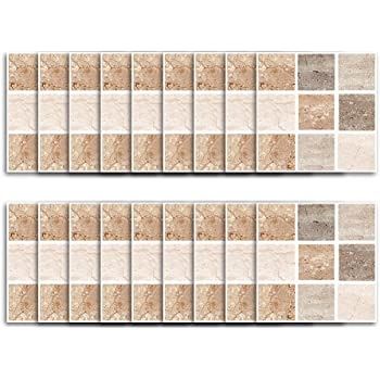 Amazon Com Fymural Tile Sticker For Kitchen Bathroom Waterproof Anti Mold Backsplash Tile Sticker 4x4 Inch Square Stitching Tile Decals For Walls Stairs Deacoration 18pcs S006 Arts Crafts Sewing