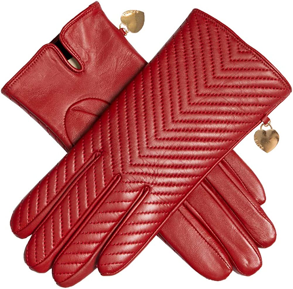 Dents Womens Zara Quilted Chevron Leather Touchscreen Gloves Berry Size 8