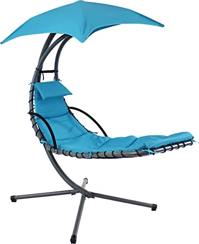 new arrival Sunnydaze Floating Chaise Lounger Swing Chair with Umbrella Canopy - Curved Steel Hammock Lounge Chair with wholesale Cushion and Pillow - Removable Cushion and online Umbrella Shade - 82-Inch Tall - Teal online sale