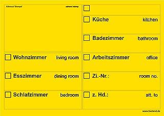 20x Umzugsetiketten Nr.2, 148x105 - A6, Beschriftung mit Etiketten vom Umzugskarton für den Umzug, Umzugetiketten, Gelb
