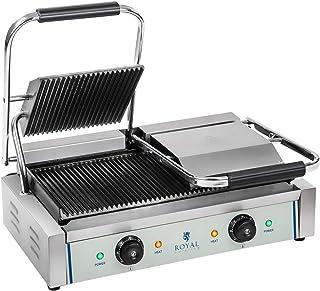 Royal Catering Machine à Panini Burger Nervurée RCKG-3600-G (2x1.800W, 230V, supérieur plaque de cuisson 21,4x21,4cm, infé...