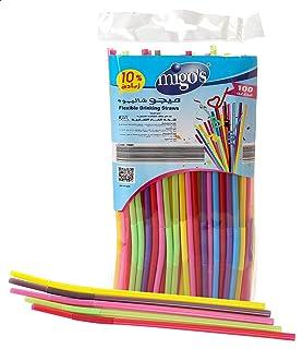 Migo's Drinking Straws, 6 ml, 100 Pieces, Multi Color