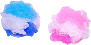 KRIWIN® 2 Big Bath Tri Layer Loofah(50 Grams Each)/ Sponges/Scrubber/Puff/Luffa/Flannel (Pink & Blue Colors)