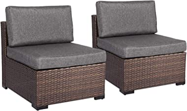 Loveseat 2 PCs Outdoor Patio Furniture Set, Wicker Armless Sofa Conversation Chairs Rattan Thick Cushions Sectional Sofa Set