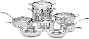 Cuisinart FCT-13 French Classic Tri-Ply Stainless 13-Piece Cookware Set, Silver
