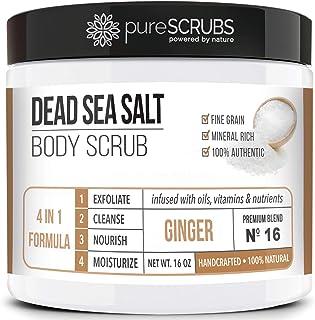pureSCRUBS Premium Organic Body Scrub Set - Large 16oz GINGER BODY SCRUB - Dead Sea Salt Infused Organic Essential Oils & ...