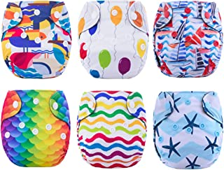 Newborn Cloth Diaper All in One with Umbilical Cord Snap 6 Pack Thank u Mom (Dream Land)
