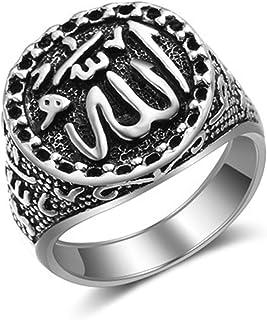 OGTFRWS أزياء عتيقة خاتم عرب إسلامي للرجال والنساء (اللون: A، حجم الخاتم: 9)