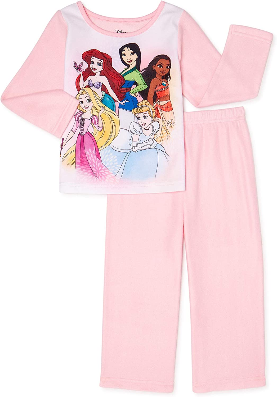 Disney Girls' Princess 2 Piece Flannel Pajama Set