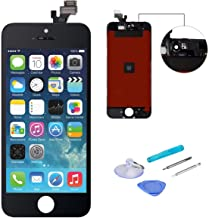 WEELPOWER Black LCD Display Replacement Screen Digitizer Touch Screen Assembly for iPhone 5 with Repair Tool(Black)